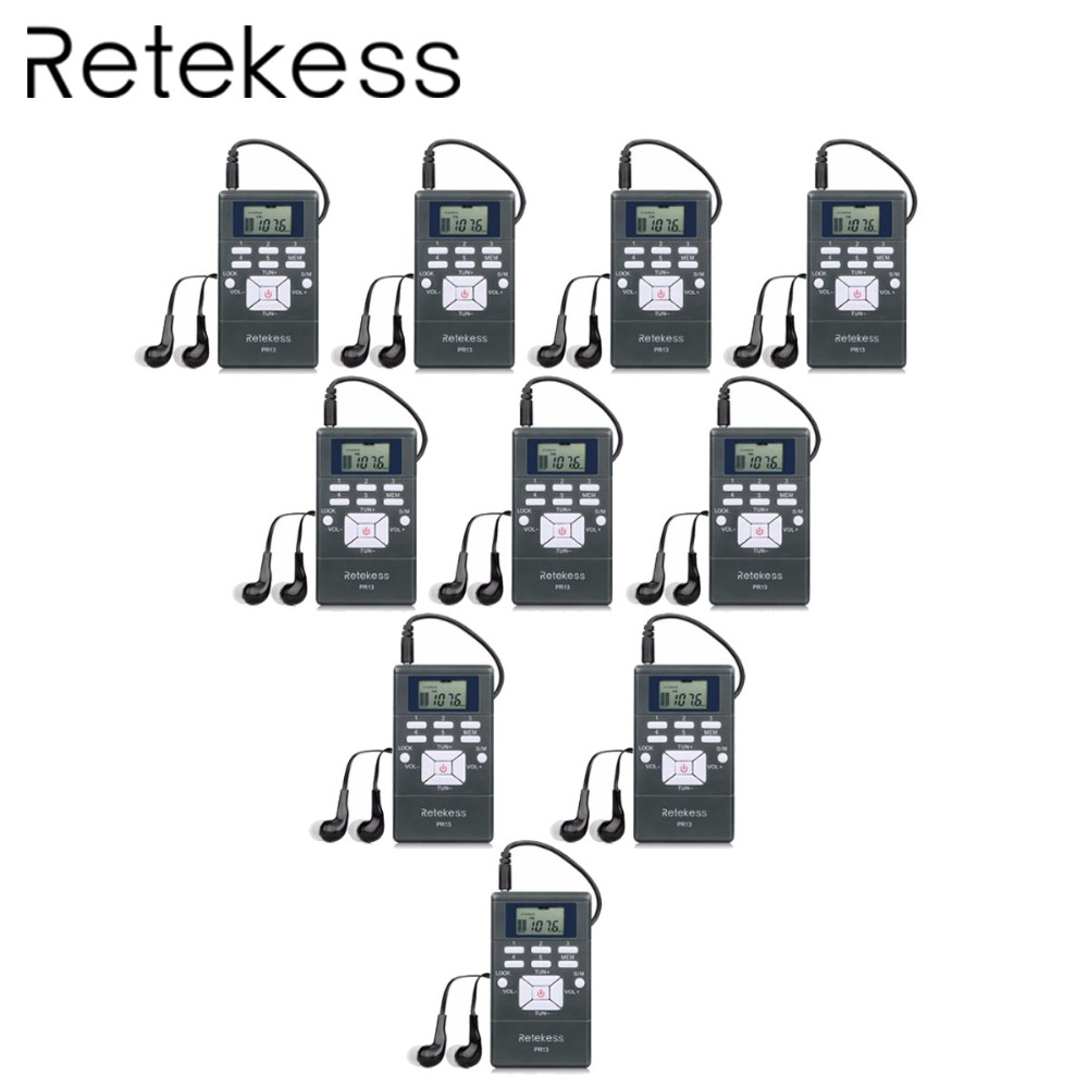 10pcs RETEKESS PR13 DSP FM Radio Digital Clock Receiver Mini Portable Radio Station For Meeting Simultaneous