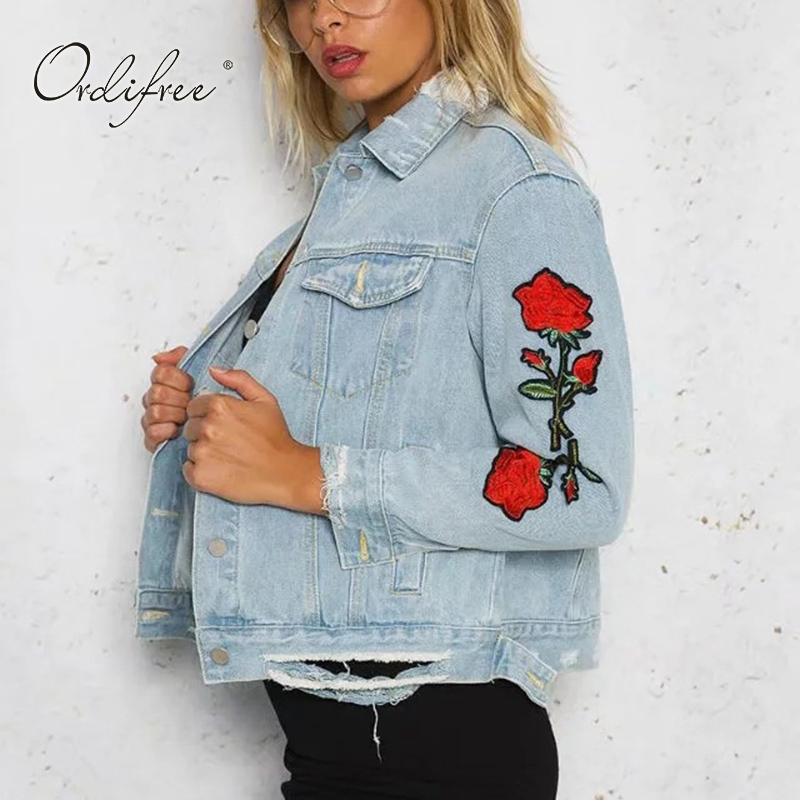 Ordifree 2017 Autumn Women Ripped Denim Jacket Coat Outwear Slim Casual Light Blue Rose Floral Embroidery Jeans Jacket цена 2017