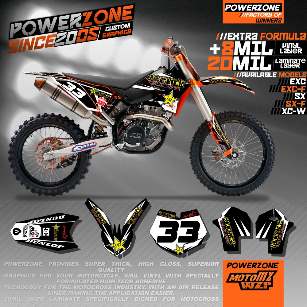 Custom Team Graphics & Backgrounds Decals 3M Cutomized Stickers KTM SX SXF EXCF XCW EXC 125 250 300 400 530 2005 2017 - PowerZone Co.,Ltd store