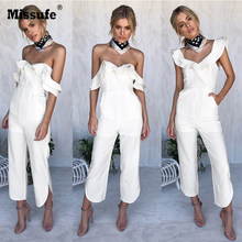 d58089345b4c Missufe Ruffles Strap White Jumpsuit Sexy Off Shoulder Split Wide Leg  Rompers For Women Slim Waist Party Overalls 2018 New