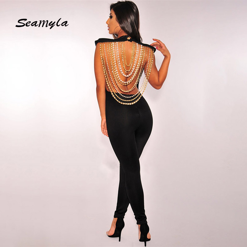 Seamyla New Sexy Backless Women JumpsuitS 2018 Luxury Beading Bandage Jumpsuit Black Bodycon Club Celebrity Party Bodysuits 2018