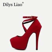 Dilys Liao Thương Hiệu Thời Trang Nữ Giày Giày Cưới Màu Đỏ Cao Gót Giày người phụ nữ Chân Tròn Hội Chữ Thập Vành Đai Buckle Strap Bơm Giày Màu Xanh 14 cm
