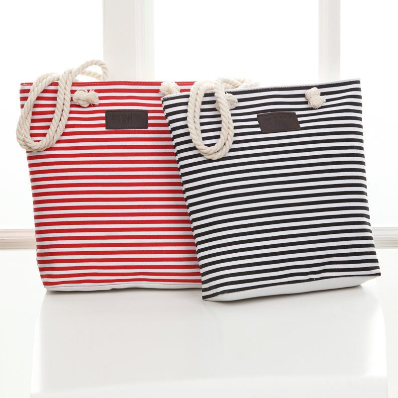 Striped hemp rope canvas bag Color Stripes Printing Handbags Beach Bags Tote Women Ladies Girl Totes Casual Bolsa Shopping Bags scione new canvas women bag shopping shoulder bag funny design piano printing handbag beach tote woman canvas hand bags 2pcs set