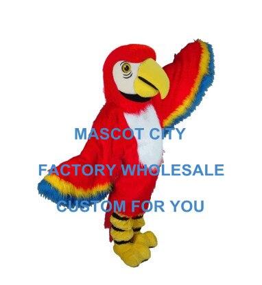 Red Macaw Mascot Costume Adult Size Capelli Lunghi Birds Mascotte Outfit Suit Costumi di Halloween del partito di Festa Di Natale SW576