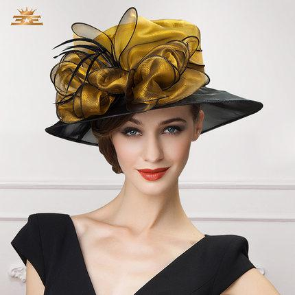Women Church Hats Women Dress Hats Derby Church Hats 100% Polyester Satin Ribbons Two Colors Available
