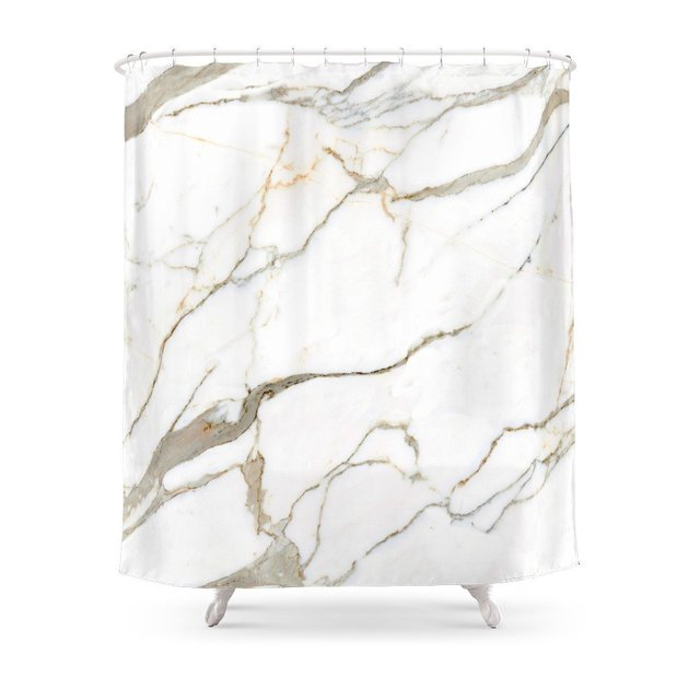 White Marble Shower Curtain Custom For Bathroom Waterproof Polyester