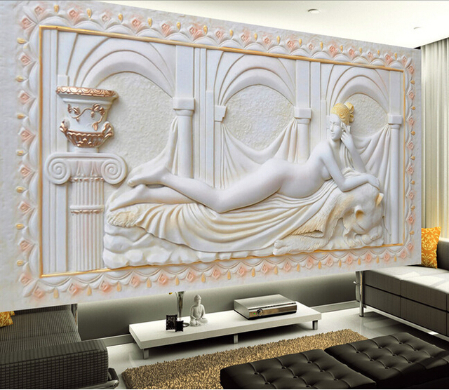 Carta da parati personalizzata 3d stile europeo figura for Carta da parete per camera da letto