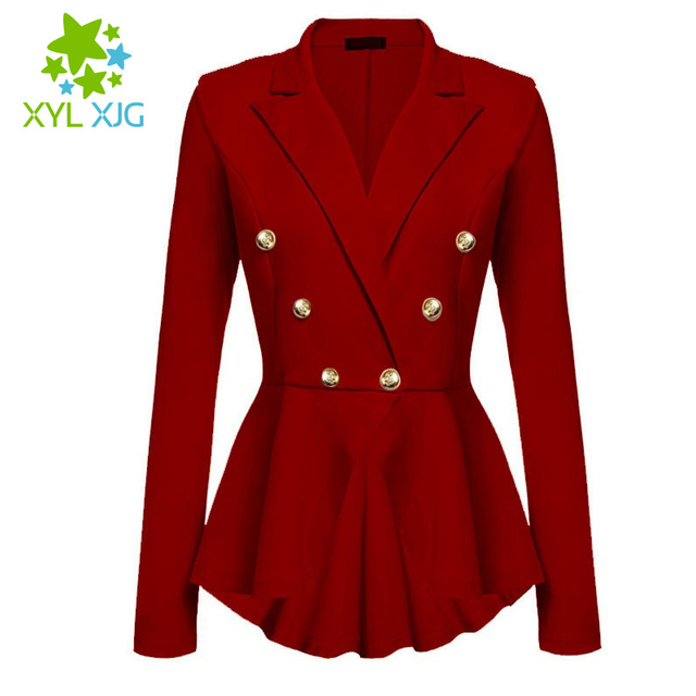 Autumn Fashion Women Blazer Slim Fit Jackets Long Sleeve Blazer Feminino Solid No Button Female Work Wear Clothe Plus Size JA796