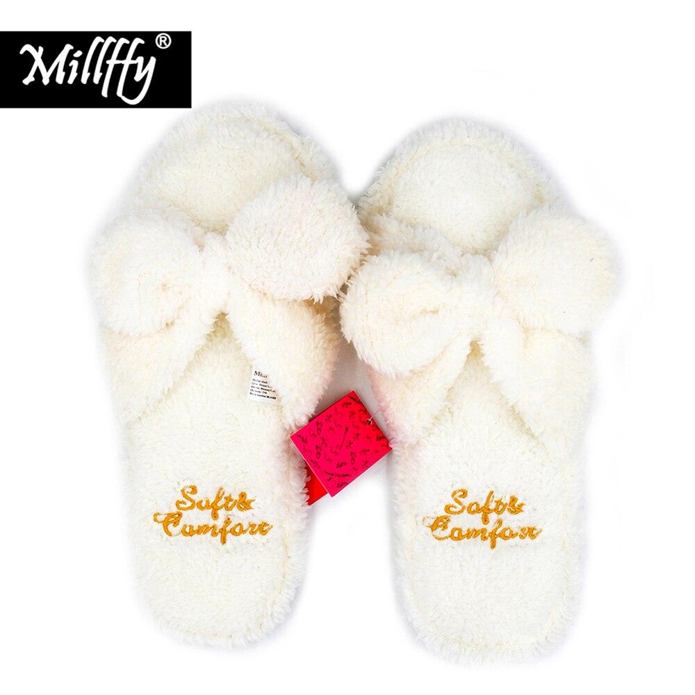 Millffy fluffy slippers indoor plush slippers cute female woman flip flop kawaii slipper shoes floor white slippers
