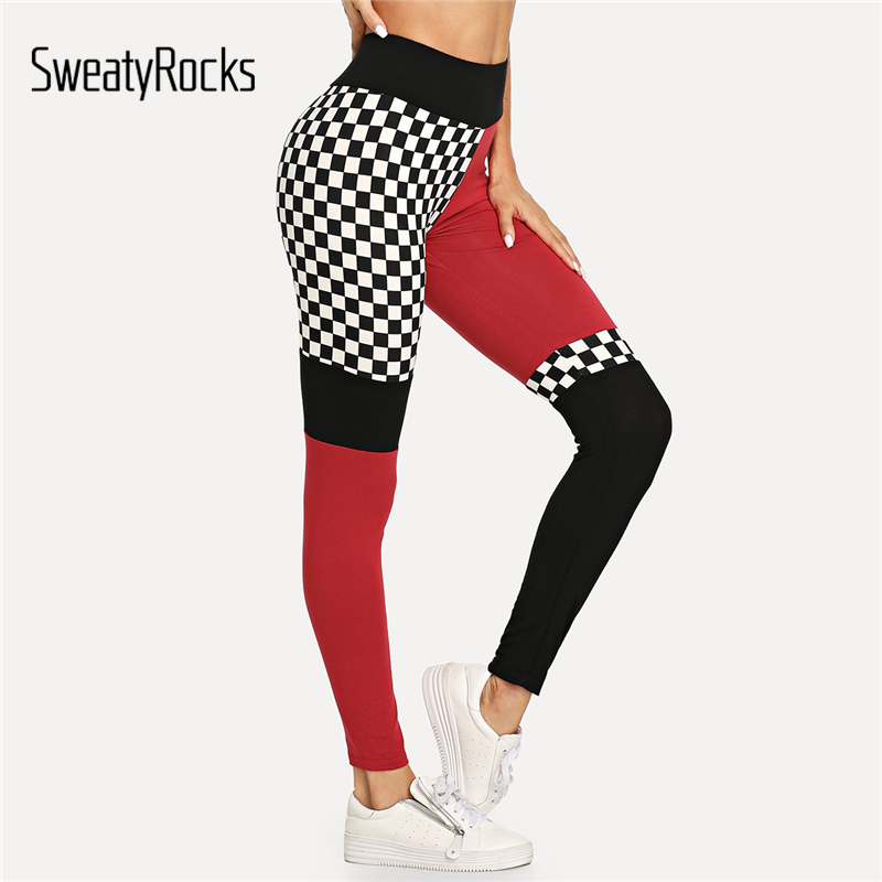 SweatyRocks Women Fitness   Leggings   Casual Gingham Workout Pants Stretchy Trousers Wide Waistband Cut And Sew Plaid   Leggings