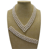 16 inches Natural White 5 6mm High Luster Rice Pearls Necklace and 7 inches Braided Bracelet Jewerly Set