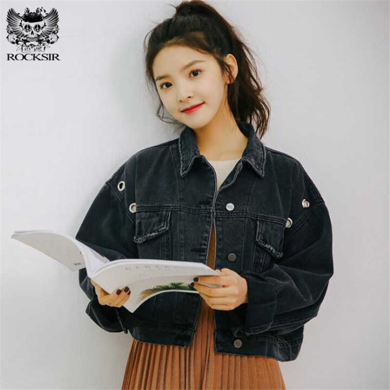 1a6b0ac2192 ... Rocksir Spring Short Denim Jacket Women 2018 Vintage Harajuku Oversized  Jeans Coat Girls Loose Cropped Jacket ...