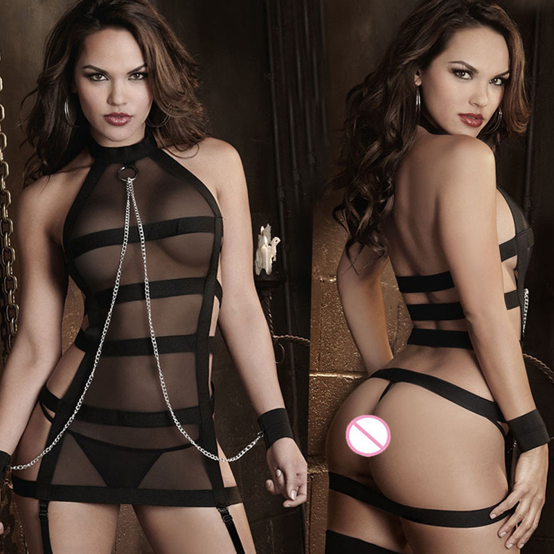 New Sexy Lingerie Hot Black Bandages Splice Perspective Gauze Handcuffs Inmates SM cosplay Erotic Lingerie Sexy Costumes FN024