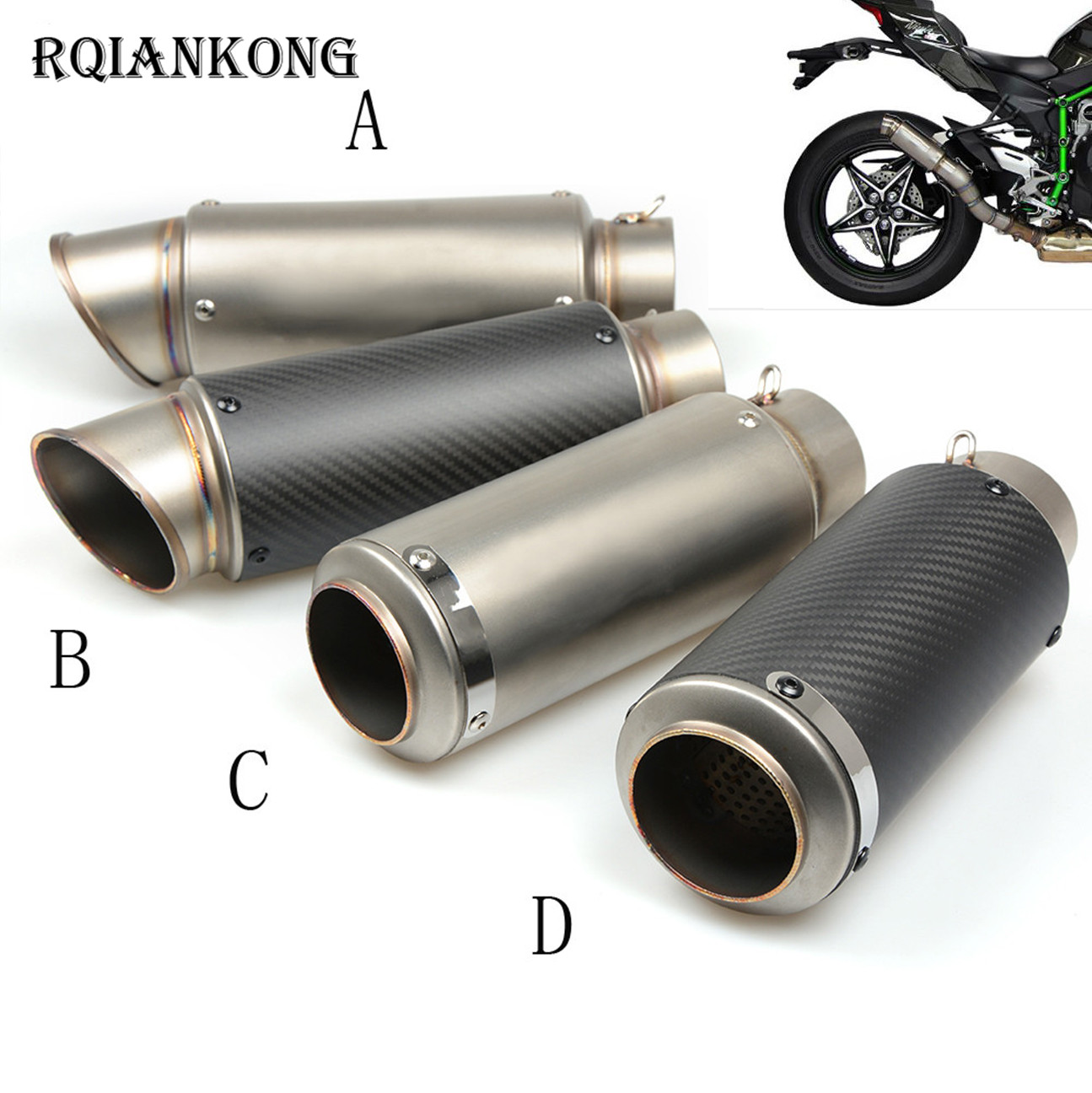 51 61MM Motorcycle Exhaust Pipe Scooter Modified 60mm exhaust Muffler pipe For kawasaki ZX6R ZX7R ZX10R ZX14R NINJA650R Z800 for honda cbr250r cbr 250 r cbr 250r cbr300r motorcycle exhaust pipe scooter modified 60mm exhaust muffler pipe 51 61mm