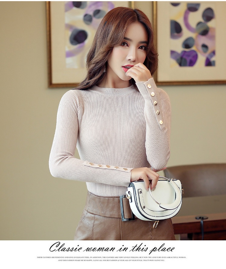 Fashion 19 New Spring Autumn Women Sweater Knitted Long Sleeve O-Neck Sexy Slim Office Lady Button Casual Sweaters Tops 11