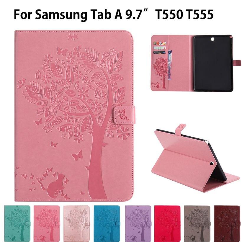 SM-T555 Haute qualité en cuir PU Cas de Stand Pour Samsung Galaxy Tab un 9.7 pouce Couverture T555 T550 SM-T550 Funda Tablet Flip Cas