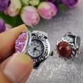 2015 moda fingure anel relógio das mulheres senhoras de aço inoxidável completa analógico relógio de quartzo relógio feminino montre femme reloj anillo