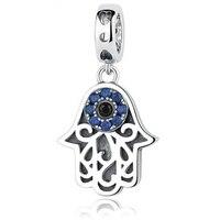 Originale Ciondola Charms Mano Pan-dora Braccialetto perline 925 Sterling Silver Beads Eye W/Blu CZ Berloques Para Pulsera Monili Delle Donne