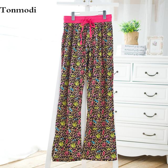Mujer ropa de dormir pantalones otoño pantalones de pijama de algodón pantalones largos sueltos pantalones de maternidad