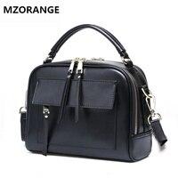 MZORANGE Luxury Brand Women Bag 2018 Italian cowhide Box Handbags Purse Genuine Leather Lady Tote Collection Bag Three colors