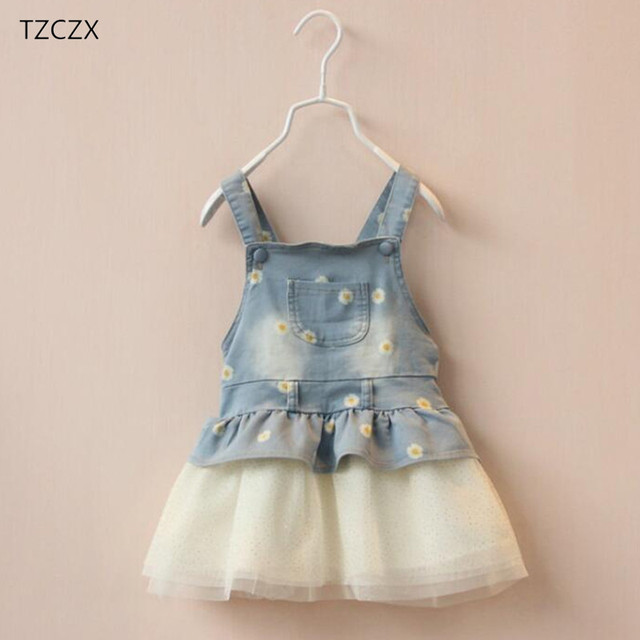 e0f4e2a537bf Hot Sale 2018 Summer Baby Girls Dresses New Fashion European and American  Style Denim Sling Ball Gown Children Knee-Length