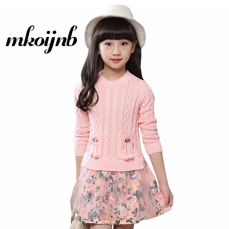 c2a204684329 Kids Winter Warm Dress Girl Flower Pattern Girls Sweater Dresses ...