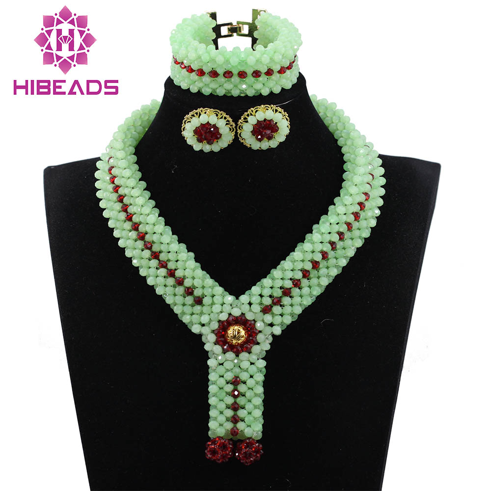 Cool Mint Green Chunky Crystal Statement Necklace Set Nigerian Indian Bridal Jewellery Set New QW1070 цена