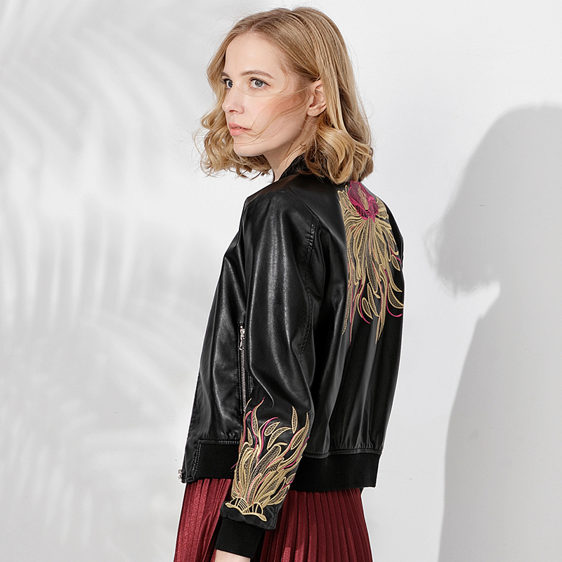 New 2018 Spring Autumn Women Bomber Leather Jacket Female Casual Vintage Embroidery Motorcycle Woman Jacket Ladies Moto Coats