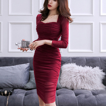Bodycon Dress Occasion Draped Spring Vestidos Ruched Sexy Solid-Color Women TAD269 Square Collar