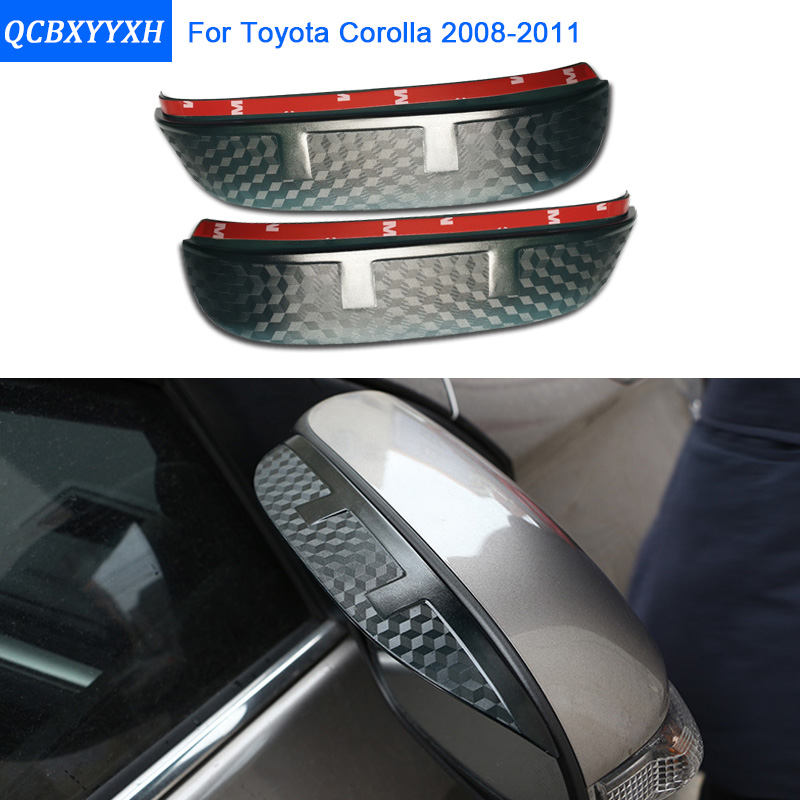 Car Styling Carbon rearview mirror rain eyebrow Rainproof Flexible Blade Protector Accessory For TOYOTA COROLLA 2008-2011