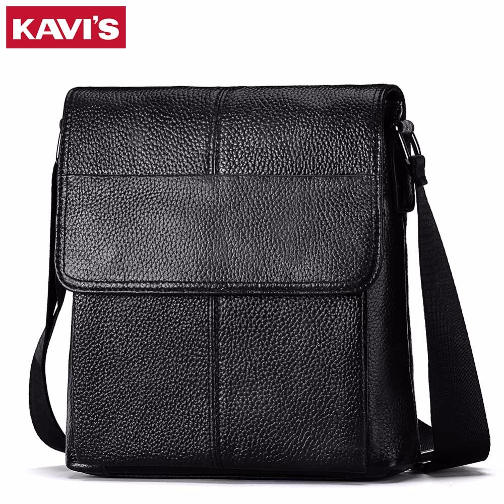 KAVIS Messenger Bag Mens Shoulder Bag Genuine Leather Handbag Male Sac Small Obag Bolsas Crossbody Sling Tote Chest Briefcase