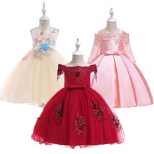 цена на Summer Princess Dress for Girls Party Wedding Sleeveless Elegant Floral Kids Dresses for Girls Children Vestido Costume 2019