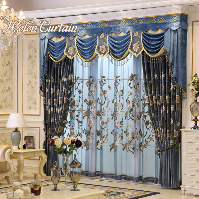 Helen Curtain Luxury Embroidered Flower Curtains For living Room ...