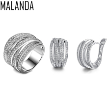 MALANDA Brand 2017 New Fashion White Zirconia CZ Luxury Rings And Stud Earrings For Women Party Weddings Jewelry Sets Mum Gift