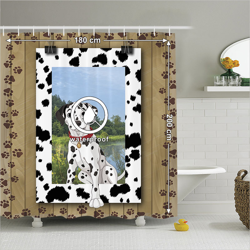 Shower Curtain Animal Print Bathroom Accessories Dalmatian Dog Puppy Paws Footprints Wooden Brown Home Decor 180200 Cm In Curtains From