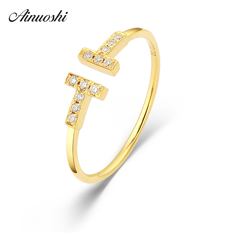 AINUOSHI Genuine 18K Gold Diamonds Ring Rose Gold Yellow Gold Open Shaped Ring AU750 Fine Wedding Brand Women Trendy Engagement 18k gold ring pair ring lovers couple simple and elegant male female solid au750 wedding engagement hot sale new trendy size7 18
