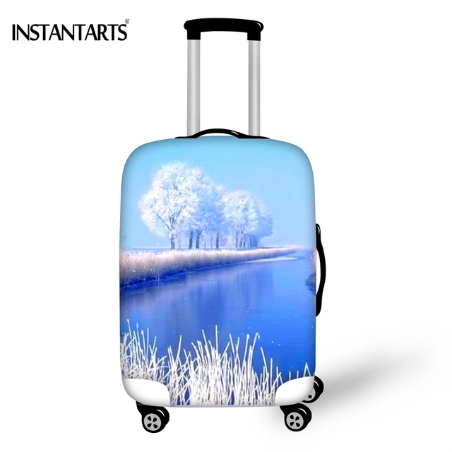 5b6b769524b9 US $18.99 |INSTANTARTS Blue Luggage Thicken Covers Apply to 18 30 Inche  Trolley Suitcase White Snow Landscape Print Travel Dust Rain Cover-in  Travel ...