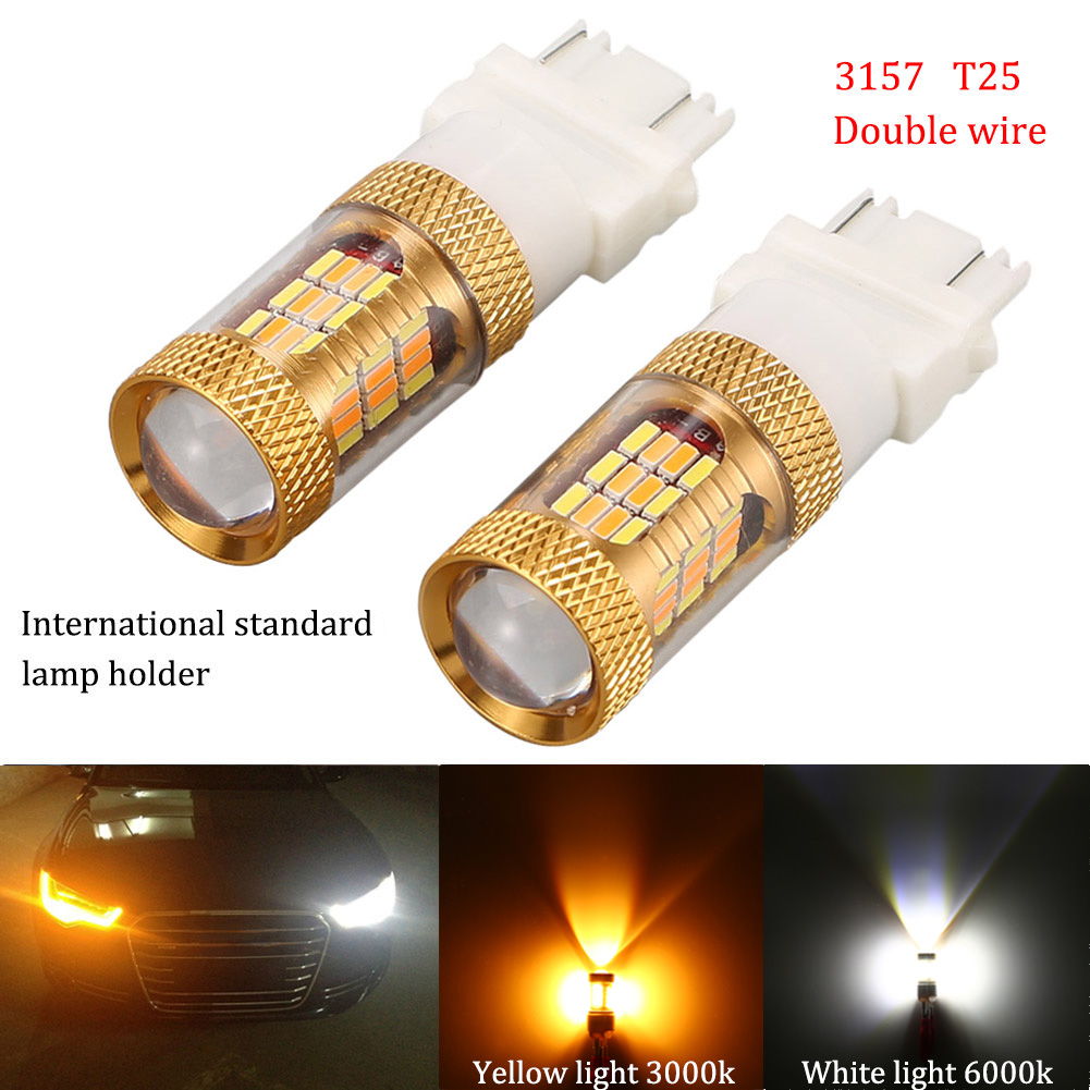2Pcs 3157 T25 54SMD 12W Auto Switch Back LED Bulbs Light SMD T25 DRL Car Turn Signal Tail Brake Stop Lights CSL2017
