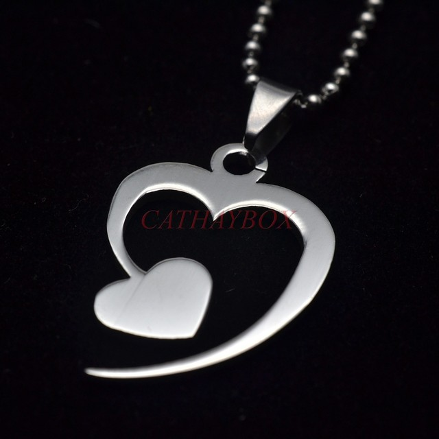 Online Shop Silver Tone Stainless Steel Double Heart Symbol Of Love