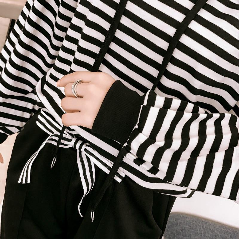 Autumn Korean stripe Woman's sets plus size hoodies sweatshirt+casual pencil pants feet student 2 two-piece set tracksuit women 5