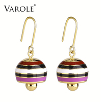 VAROLE Colorful Soft Enamel Individuality Round Bells Dangle Earrings Gold Color Drop Earrings Fashion Jewelry For Women Brincos