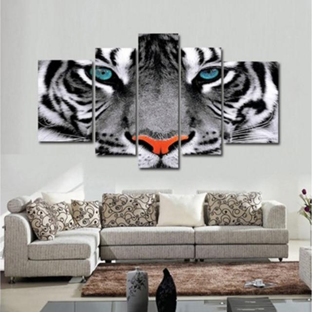 מודרני קיר אמנות פוסטר מודולרי ציורי בד 5 חתיכות בעלי החיים לבן טייגר עיניים תמונות מסגרת תפאורה סלון בית HD הדפסי