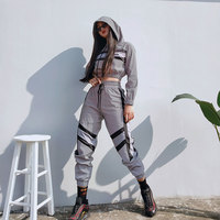 Macheda Casual Reflective 2pcs Women Set Hoodies Crop Top Pullover And Side Stripe Pants 2 Pieces Sets Women Clothing Suits