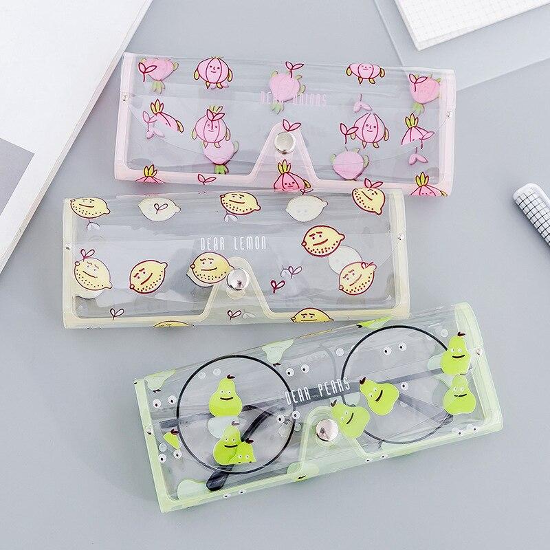 Box-Holder Case Storage-Box Eyeglass Crystal Clear Transparent Plastic Cute Cartoon Soft