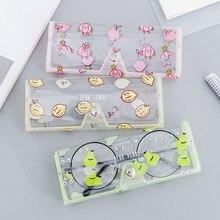 Милый мультяшный пластиковый прозрачный Кристальный Защитный Чехол для очков, мягкий чехол для карандаша, сумка для ручек, коробка для хранения