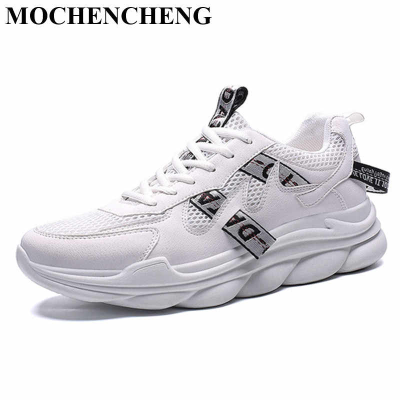 2019 New White Sneakers Men Casual Shoes for Spring Adult Male Lace-up Tenis Footwear Stylish Flat Shoes with Platform Anti-skid
