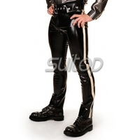 Sexy Latex Pants Rubber Trousers Rubber Latex Panty Girdle Black With White Line
