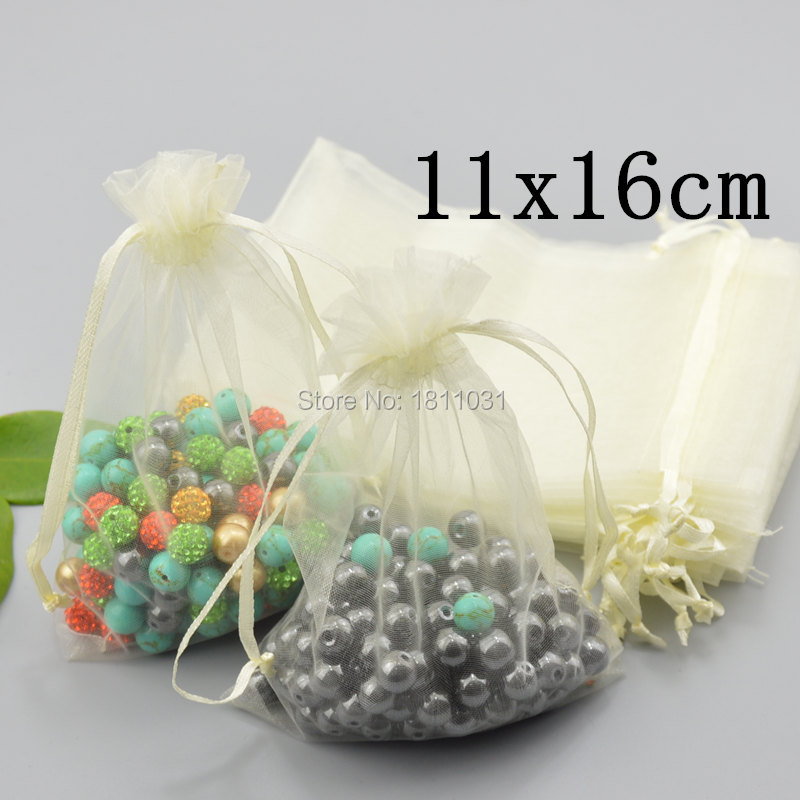Whole 100pcs Lot Cream Jewelery Gift 11x16cm Organza Bag Beige Wedding Bags Jewelry Pouch Package On Aliexpress Alibaba Group