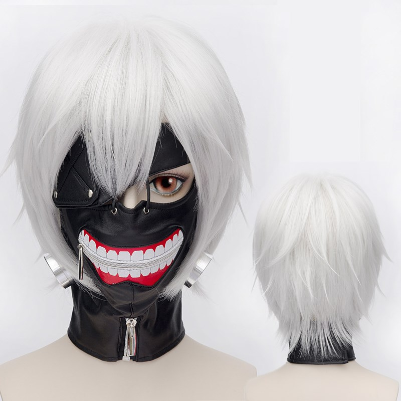 Tokyo Ghoul Kaneki Ken Wig Short Straight Silver Grey Synthetic Hair Cosplay Anime Wigs Heat Resistance Fiber+Hairnet