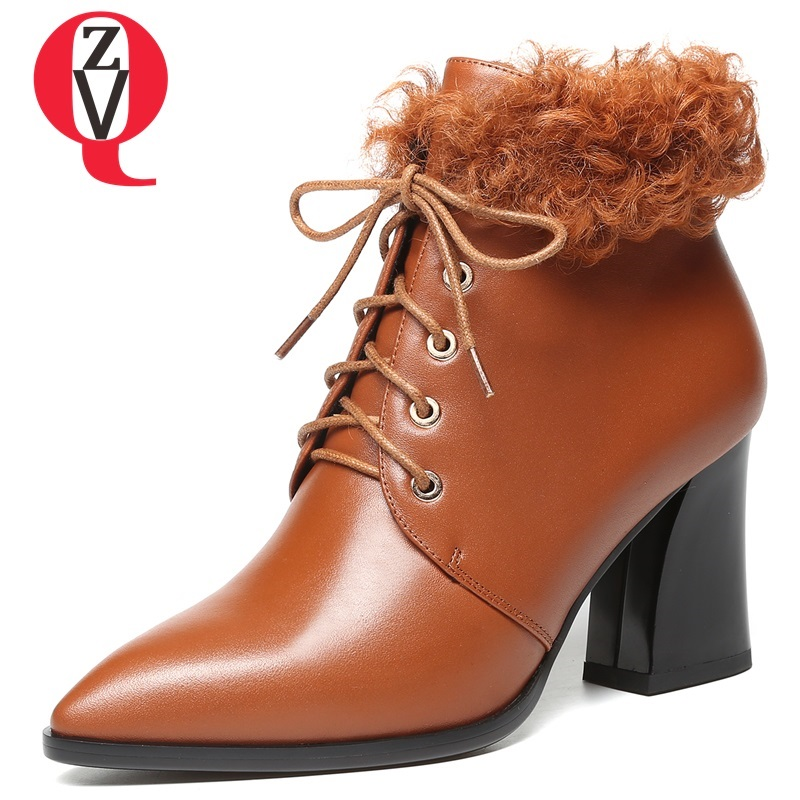 ZVQ 2018 new fashion sexy pointed toe solid genuine leather women shoes high square heel cross-tied lace-up winter ankle boots artka women s winter vintage solid round toe all match high heel lace up soft genuine leather shoes pre sale xd16832d